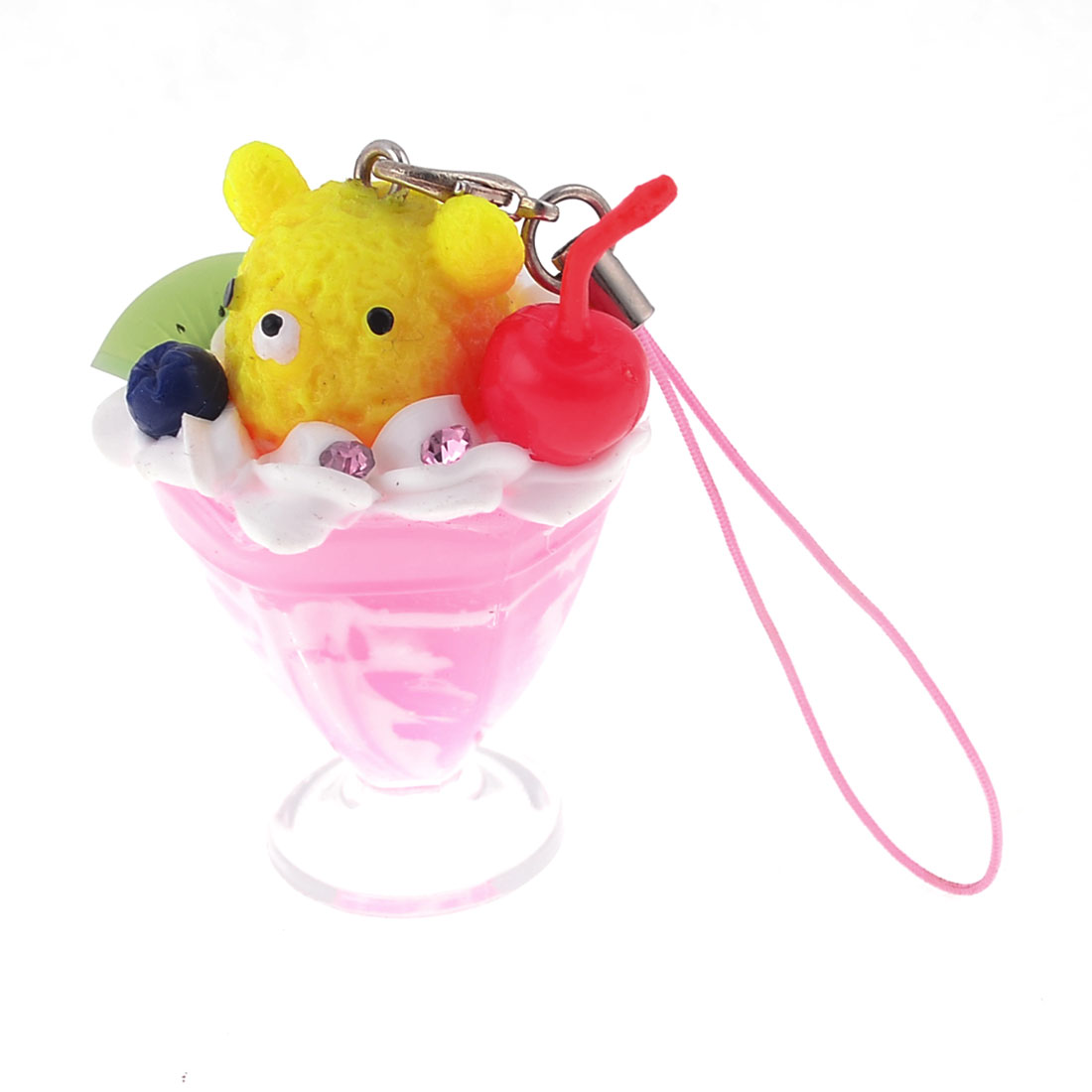 Glitter Rhinestones Inlaid Pink Yellow Ice Cream Cup for Phone Charm Strip