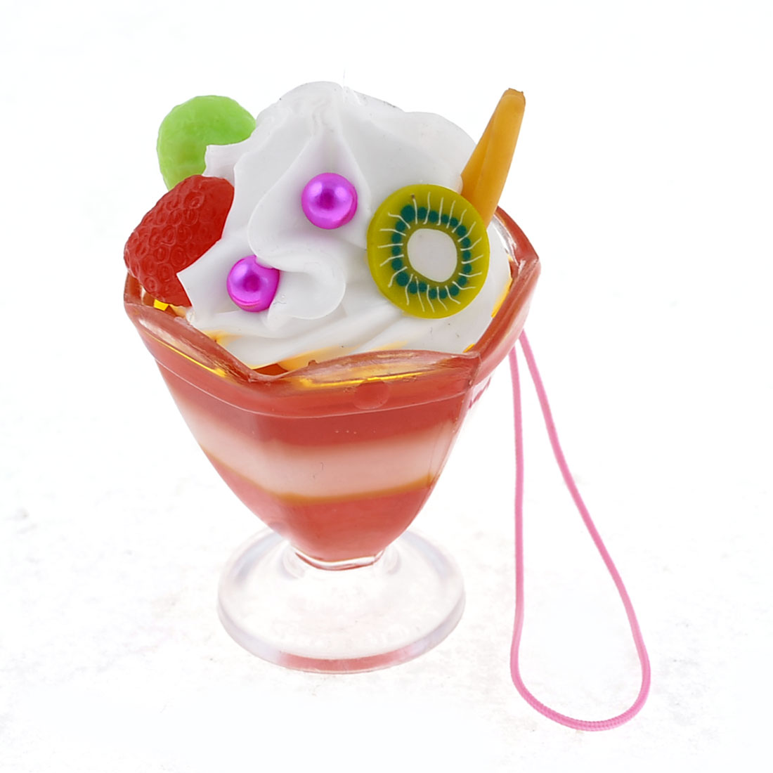 Red White Fruit Ice Cream Cup Mobile Phone Charm Strap