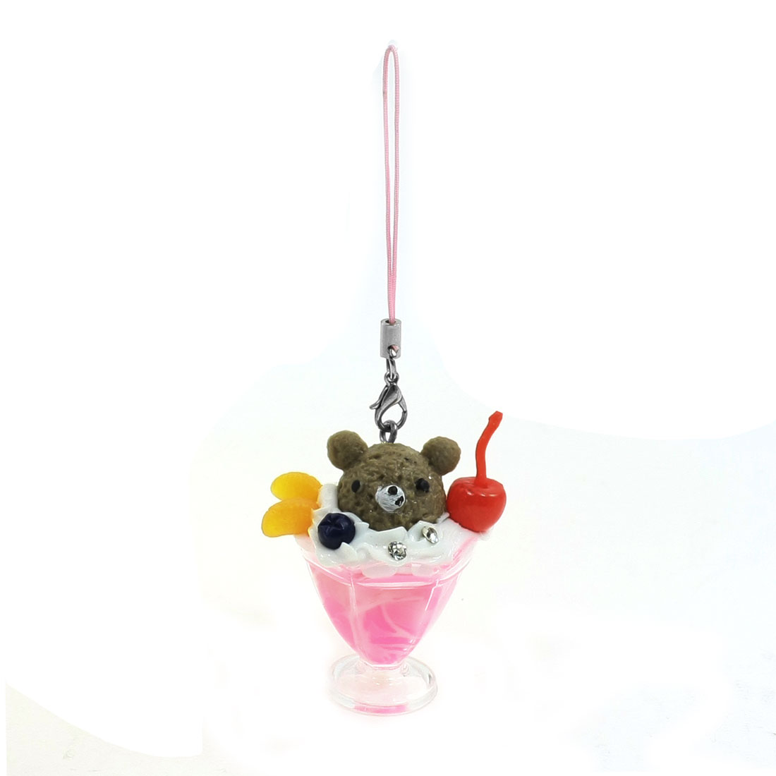 Fruit Ice Cream Cup Design Pink Taupe Mobile Phone Strap Pendant