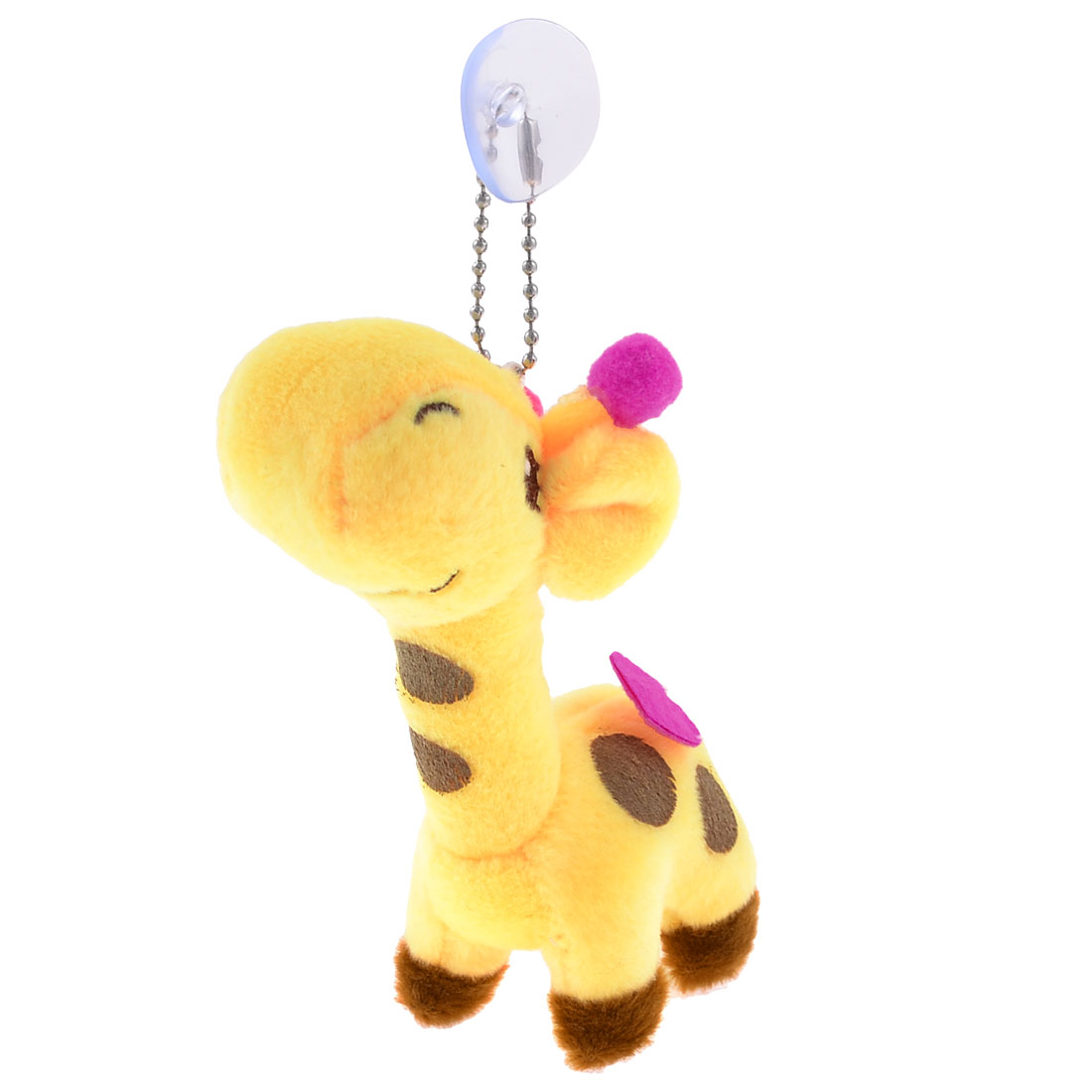 Yellow Brown Dotted Pattern Plush Giraffe Suction Cup Toy Doll