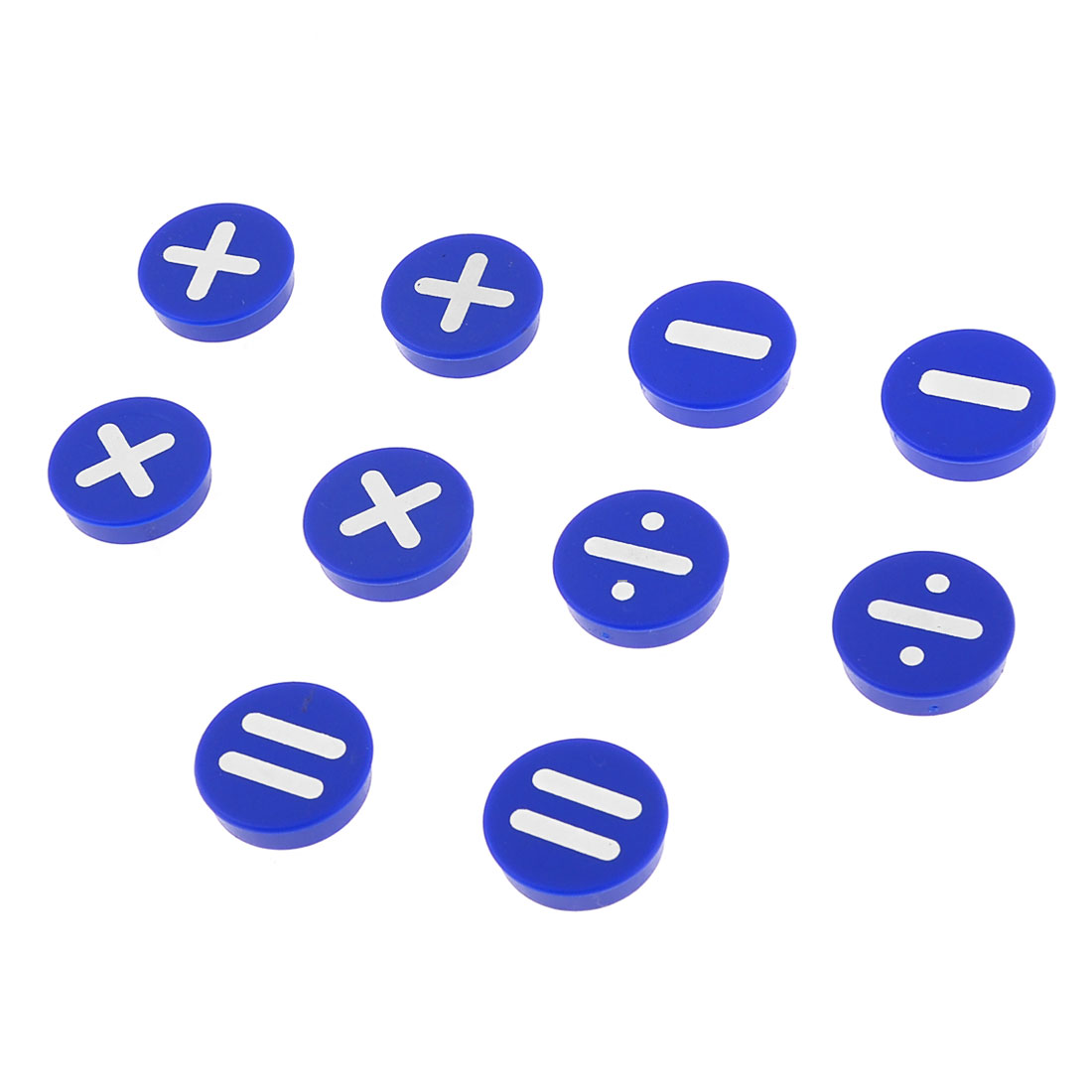 10 Pcs Blue White Basic Arithmetic Printed Round Design Fridge Magnets