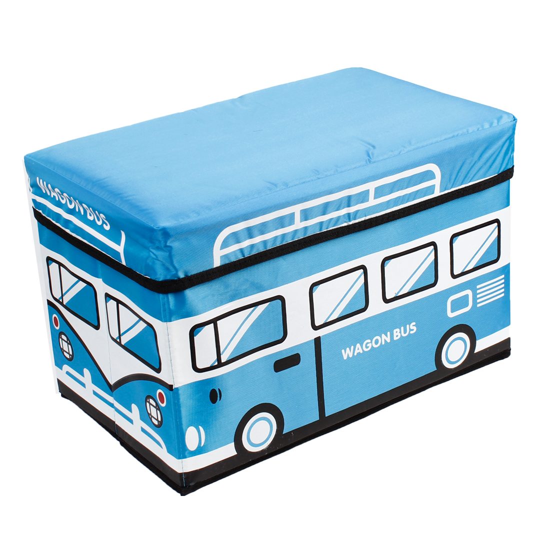 Car Auto Blue Bus Design Non Woven Fabric Foldable Cosmetic Storage Box Bag