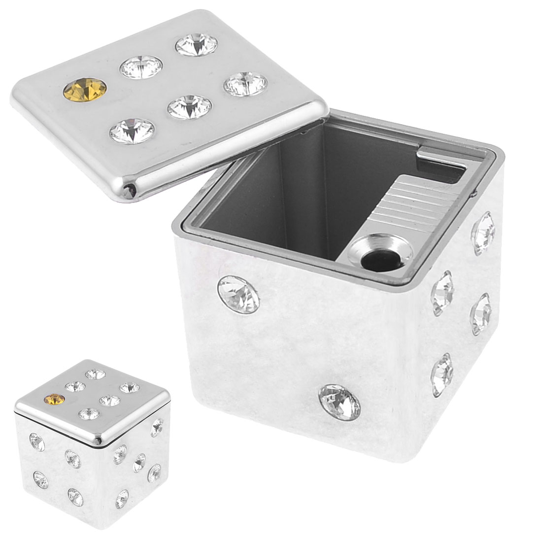 Household Metal Square Garbage Smoking Cigarette Holder Container Ashtray Silver Tone