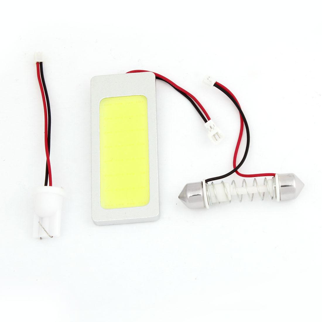 Car White COB LED Dome Light Panel w T10 Festoon Adapter DC 12V 1W