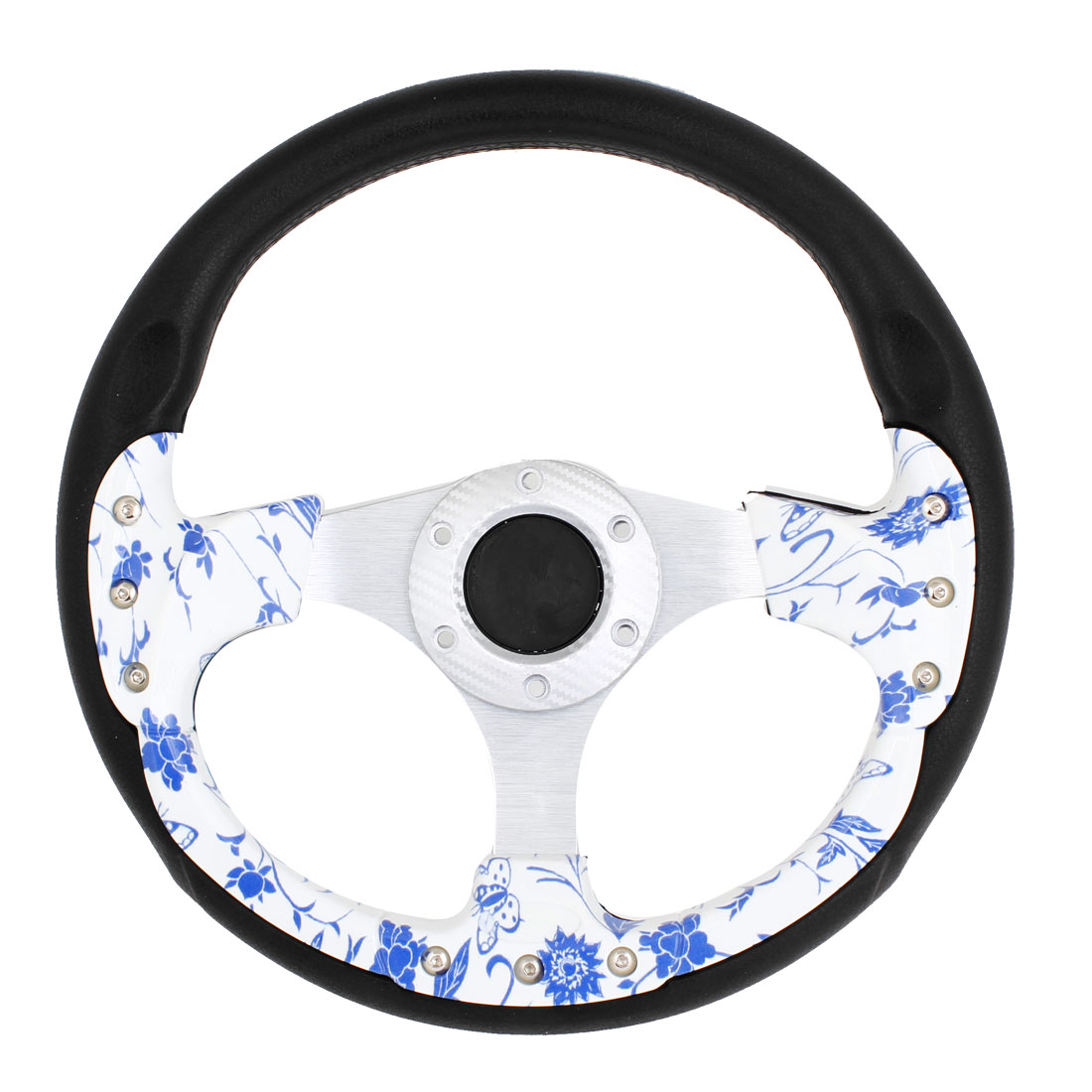 Blue White Porcelain Print 3 Holes Bolt on Steering Wheel 32cm Dia for Car