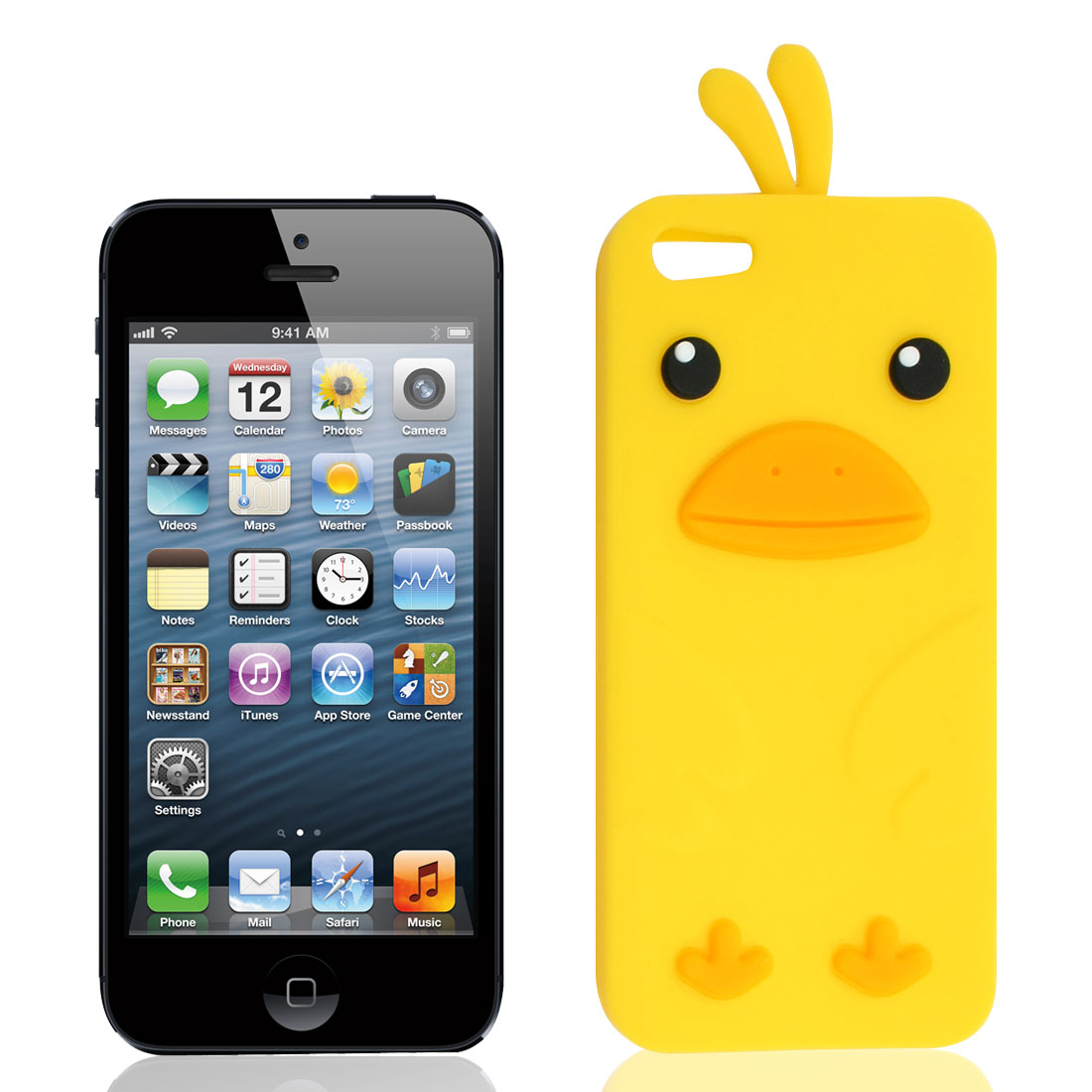 Yellow Cartoon Duck Silicone Case Cover Shell for Apple iPhone 5 5G