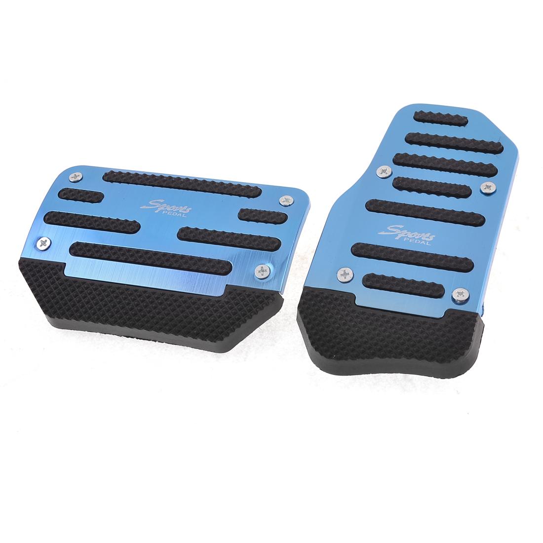 2PCS Blue Black Antislip Car Truck Automatic AT Gas Brake Pedal Covers