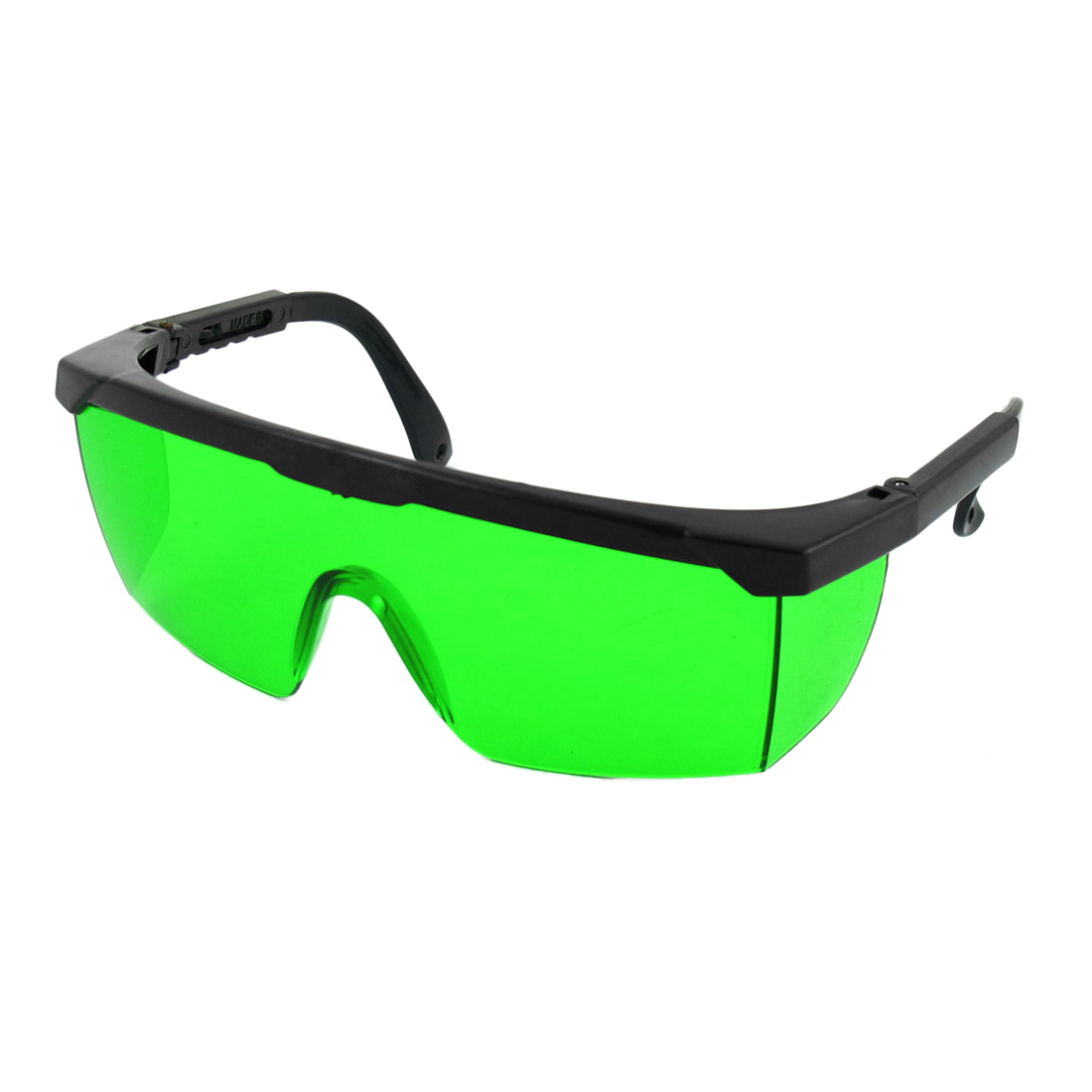 Plastic Half Rim Retractable Arms Green Lens Goggles