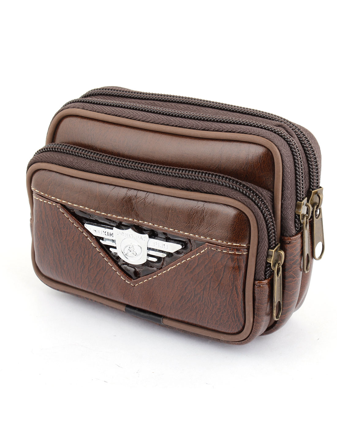 Brown Zipper Closure Faux Leather Waist Pack Bag for Man