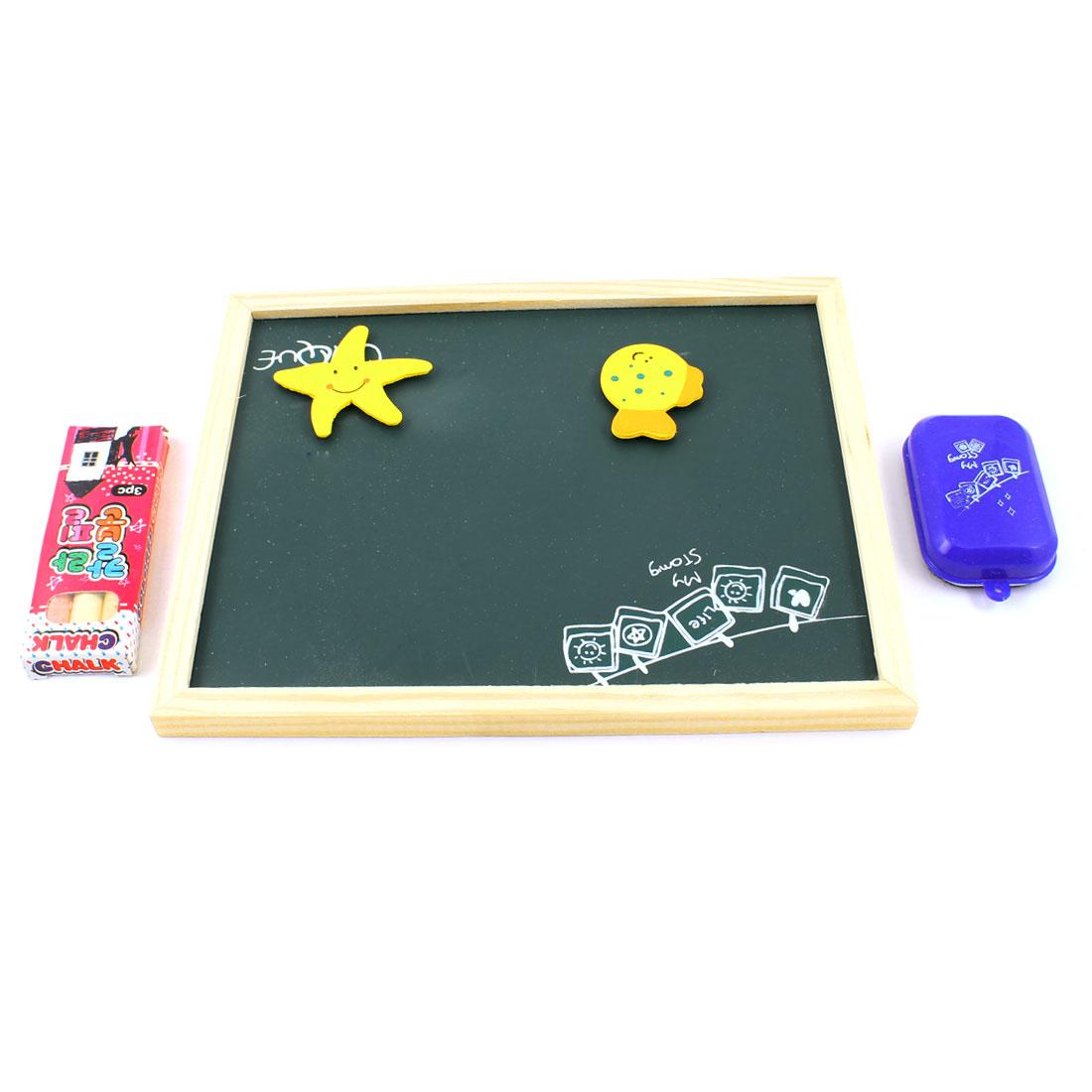 Wood Color Frame Notice Message Writing Board Eraser Magnetic Set