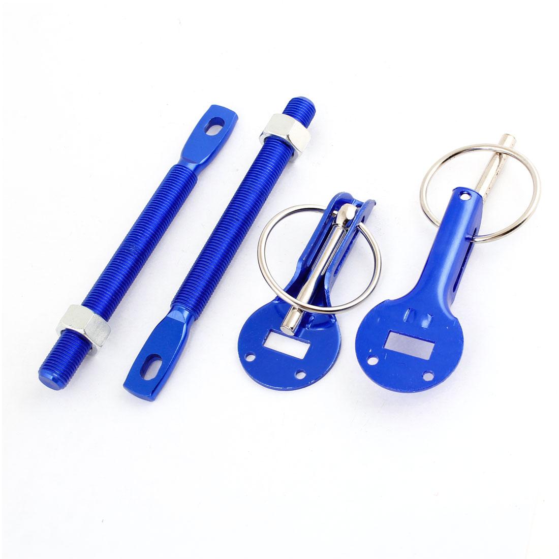 Metal Racing Hood Pin Latch Kit Lock Tool Set Blue Silver Tone for Car