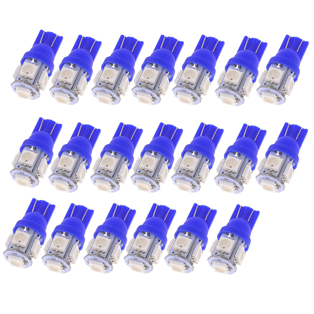 T10 194 168 W5W 5050 SMD 5 LED Car Side Light Bulb Dashboard Lamp Blue 20 Pcs