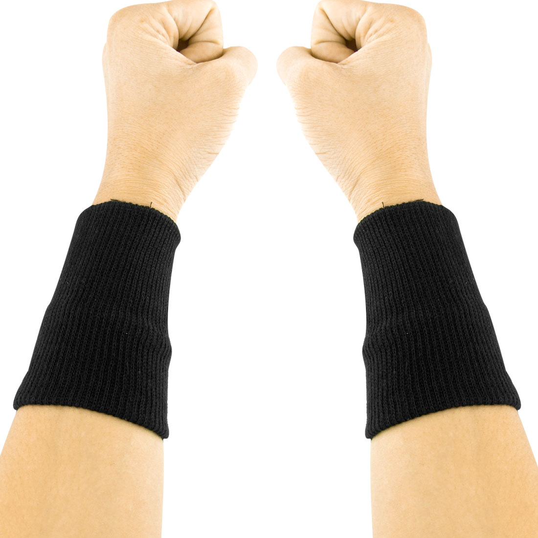 Pair Black Elastic Sports Athletic Protective Wrist Support Band