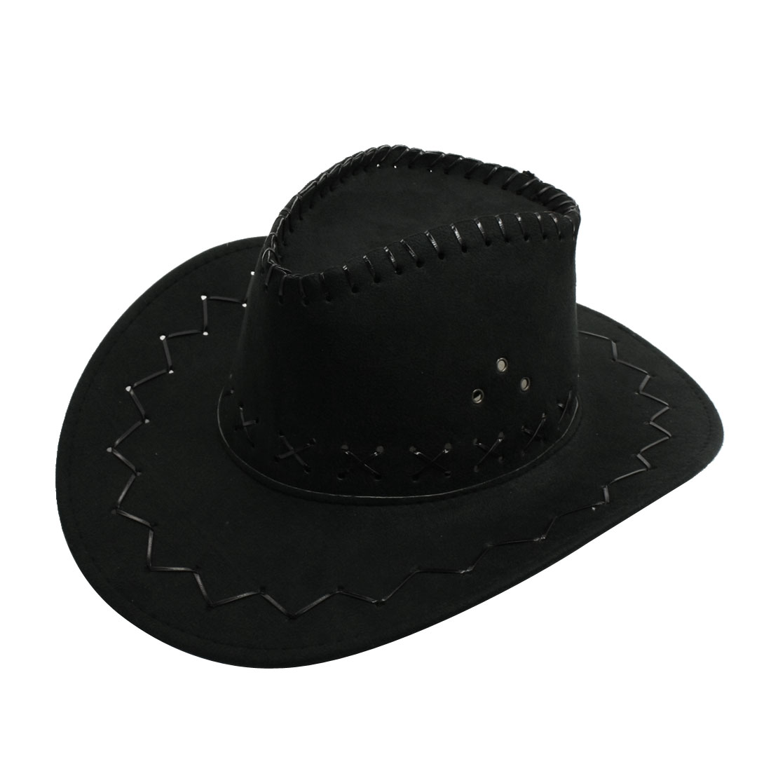 Men Black Flannel Strap Winding Wave Pattern Faux Suede Cowboy Hat