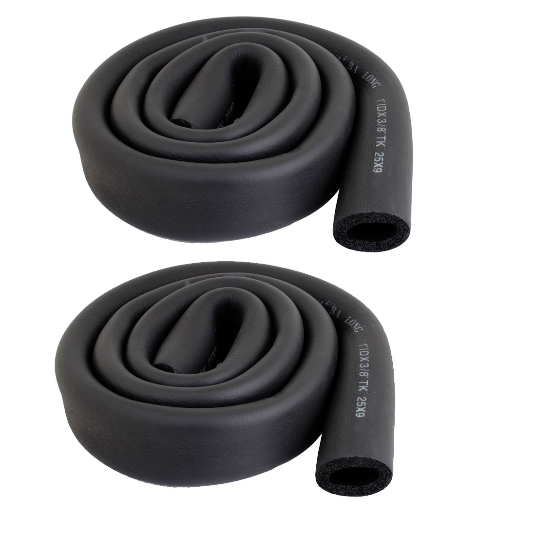"2 Pcs 1"" x 3/8"" Air Conditioner Foam Heat Insulated Pipe Black"