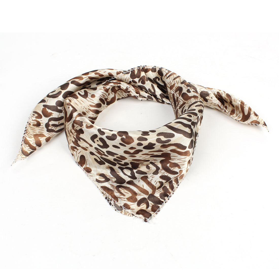 Spring Fall Wear Brown Beige Leopard Print Neck Scarf for Ladies