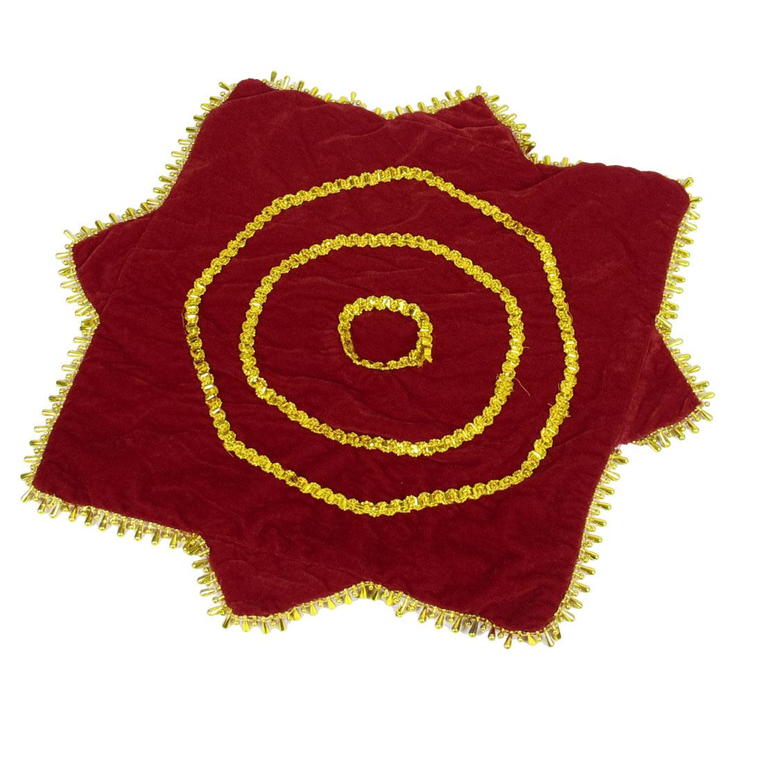 Red Velvet Gold Tone Sequin Decor Dance Handkerchief Octagonal Towel