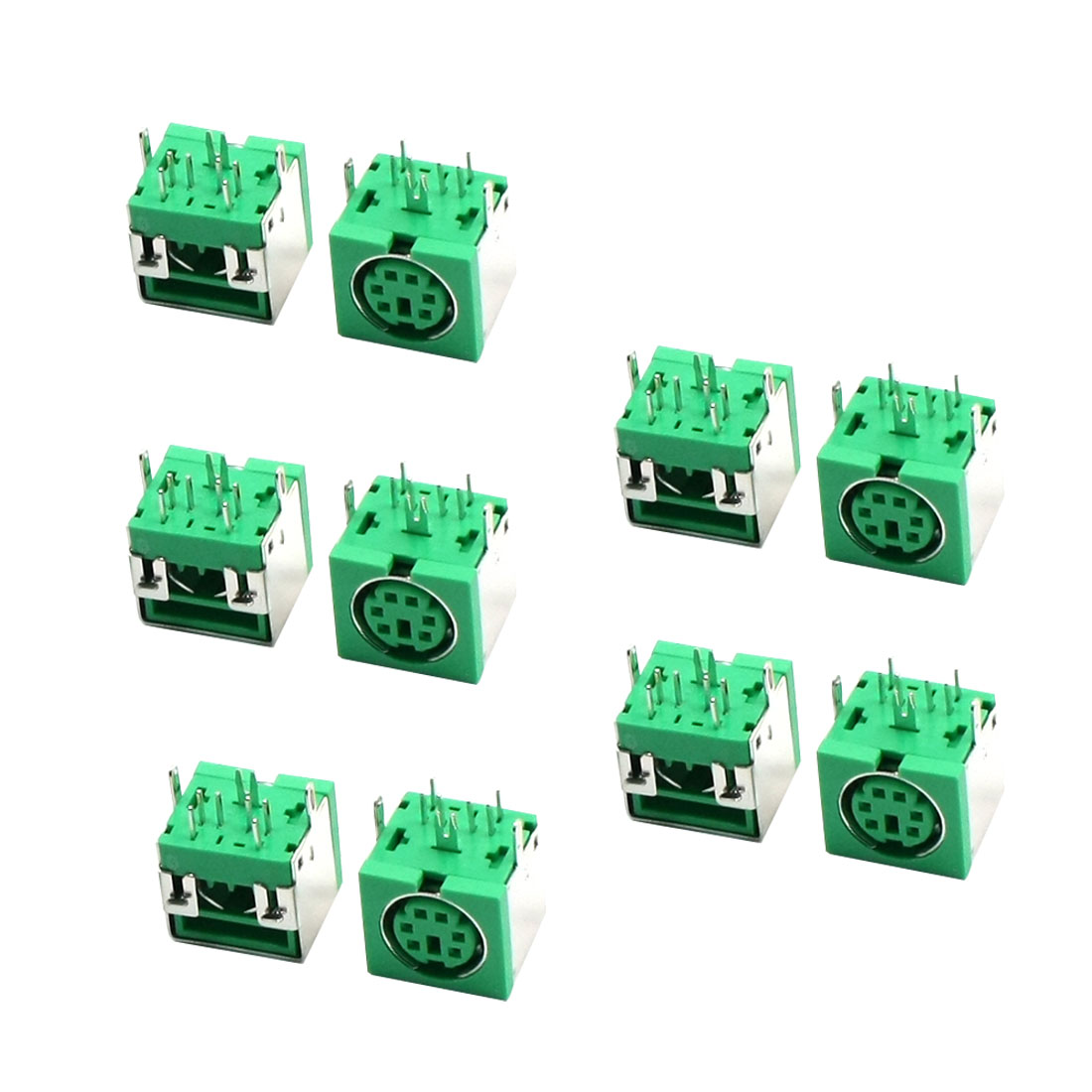 10pcs Metal Cover 6P DIN PS/2 Mouse Keyboard PCB Socket Connector Green