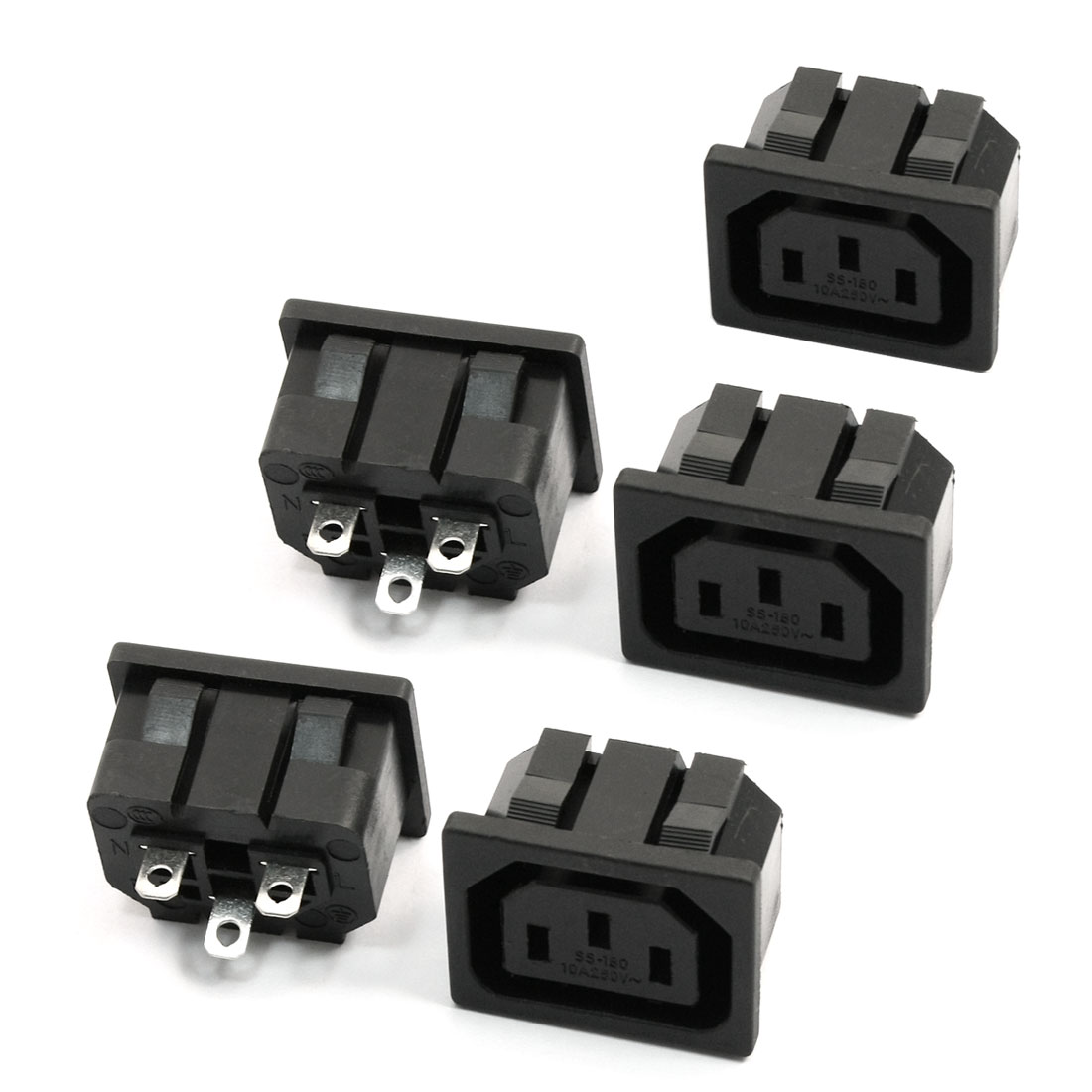 5 Pcs IEC 320 C13 Panel Outlet Power Socket Clamp Type Connector AC 250V 10A