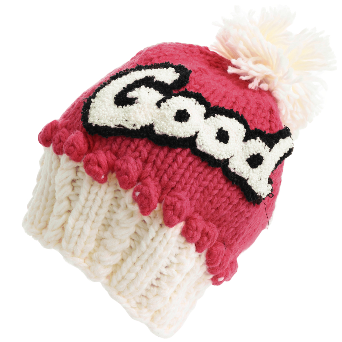 Lady Letters Pattern Pom-Pom Knitting Red White Beanie Hat Cap
