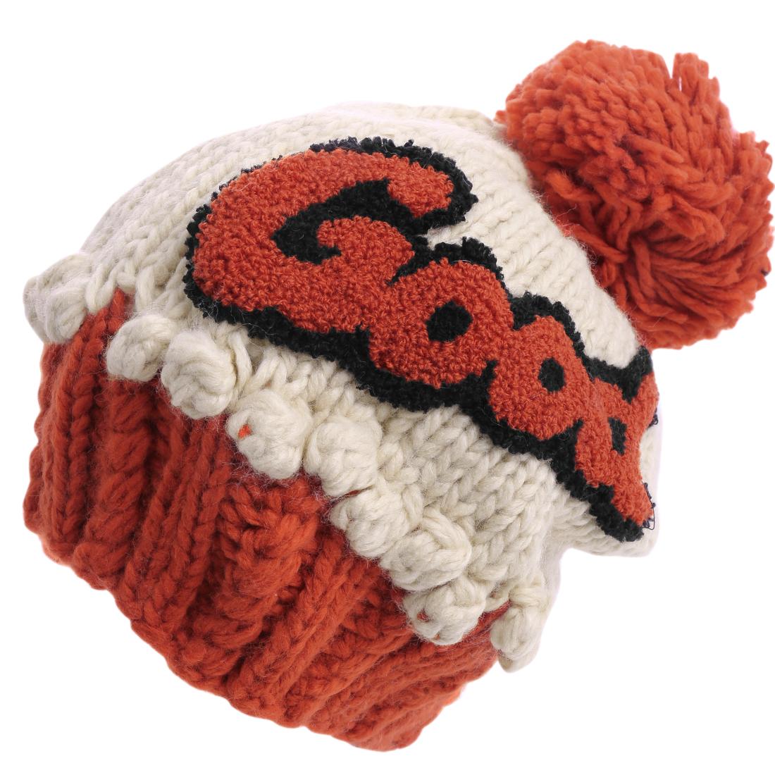 Women Ribbing Knitting Warm Winter Beige Dark Orange Beanie Hat Cap