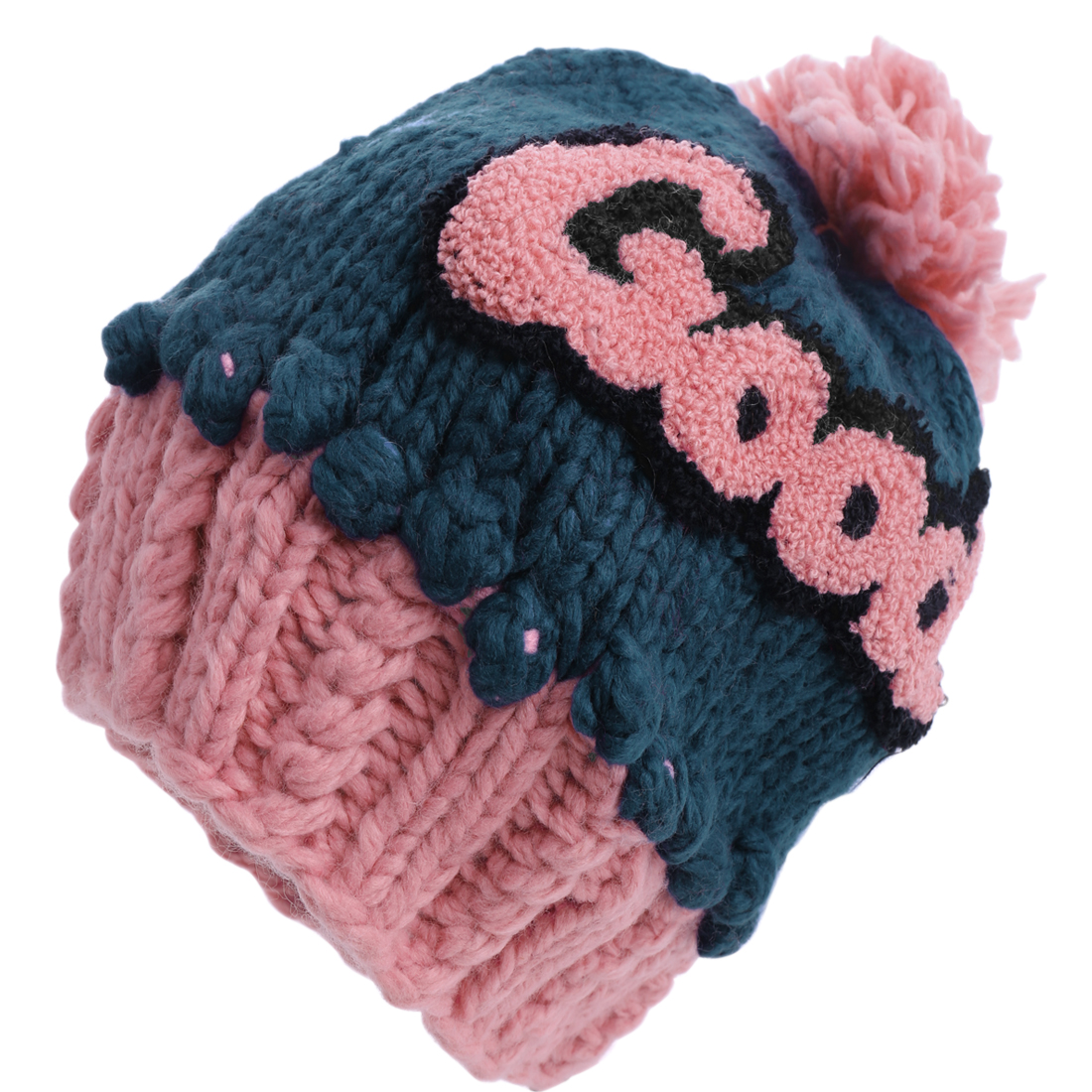 Women Crochet Knitting Stretchy Ribbed Blue Pink Beanie Cap