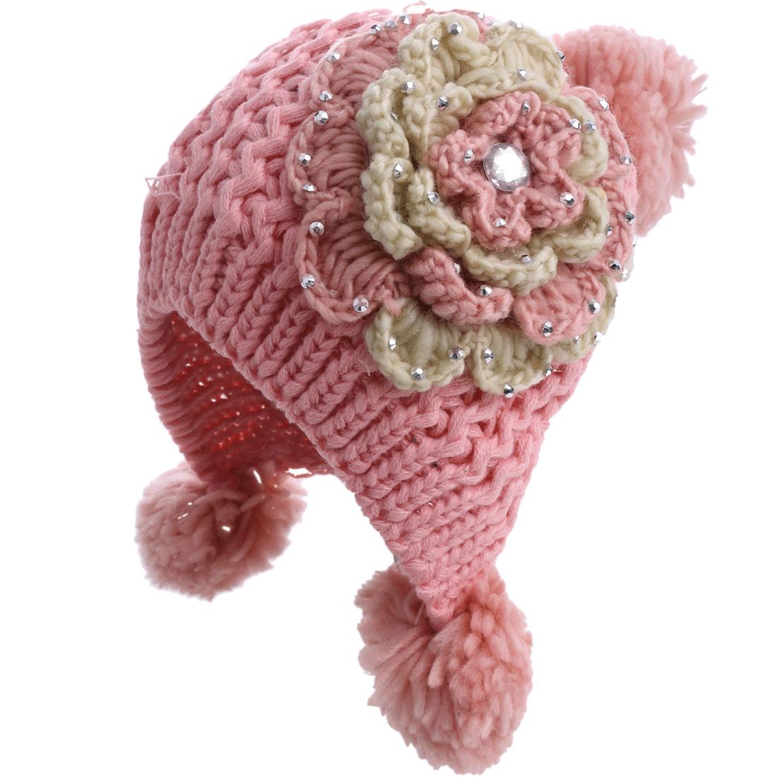 Lady Lovely Crochet Flower Ear Flap Pink Beanie Cap
