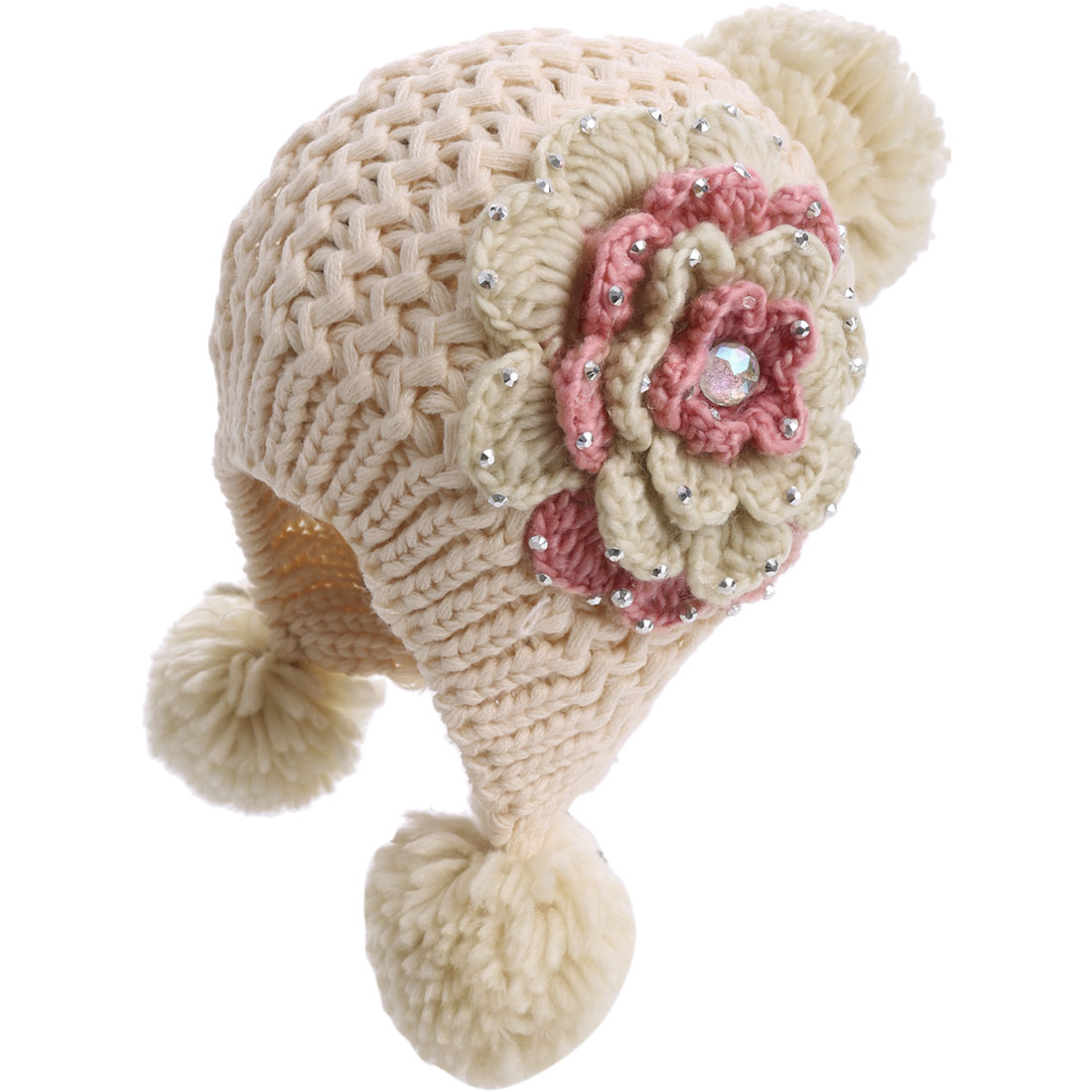 Women Earmuff Cute Flower Beige Knitting Hat Cap
