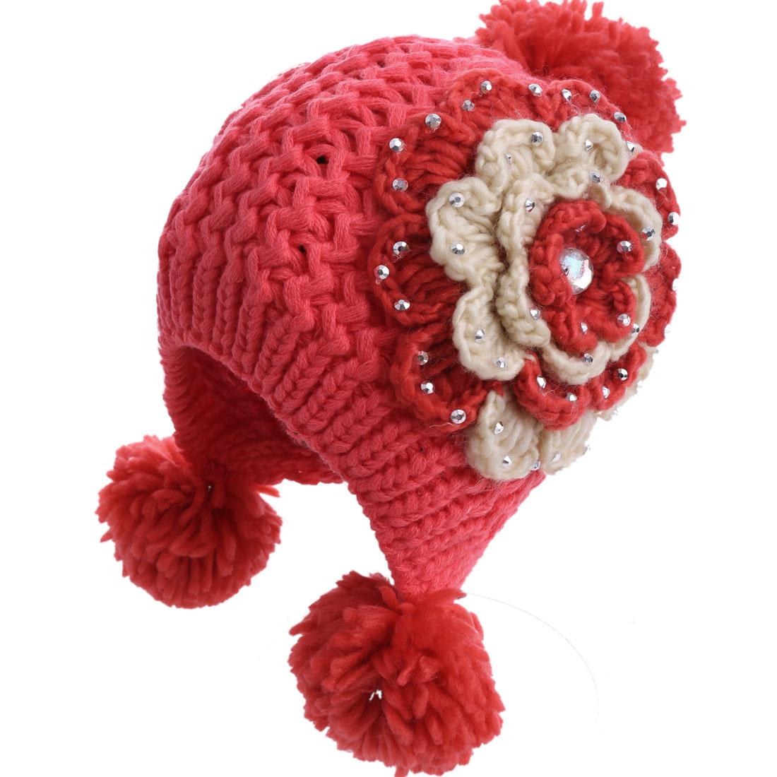 Lady Flower Decor Pom-Pom Knitting Watermelon Red Beanie Hat Cap