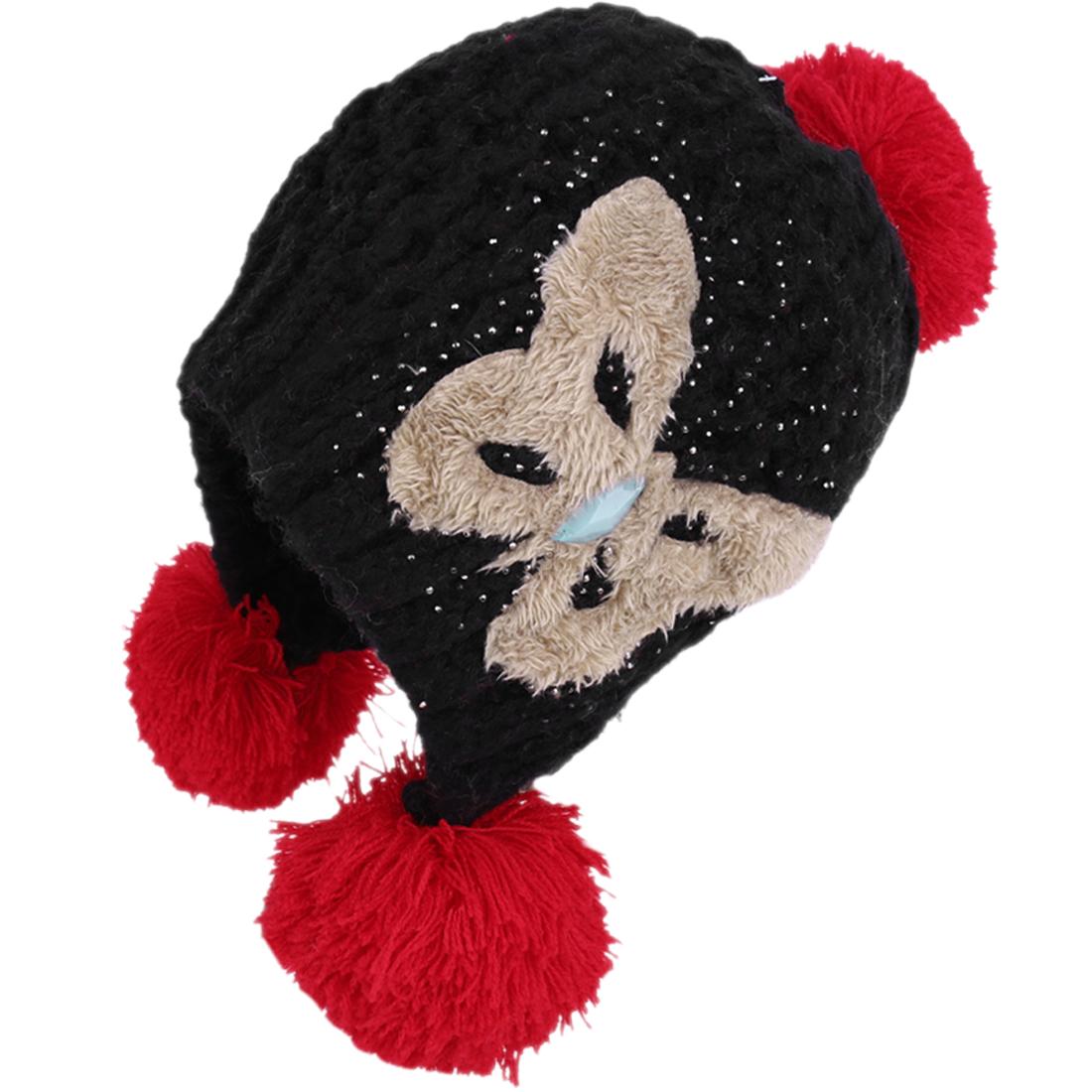 Black Pom-pom Ball Winter Fashion Warm Beanie Hat for Women