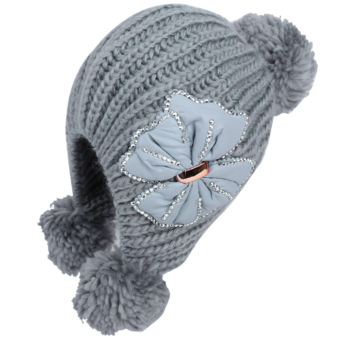 Lady Gray Bowknot Decor Ribbed Style Stretchy Fashion Beanie Hat