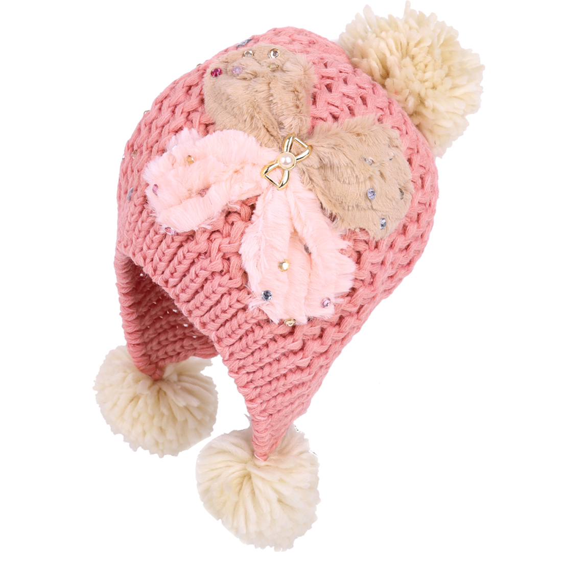 Woman's Winter Warm Butterfly Pattern Sequin Decor Pink Ear Flap Hat