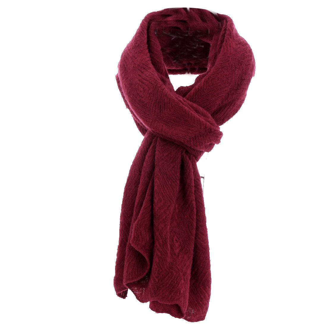 Wine Red Diamond Weave Classic Cable Casual Knitting Scarf for Women