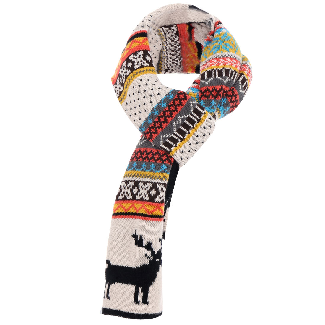 Black Beige Deer Pattern Comfort Knitted Long Scarf for Lady
