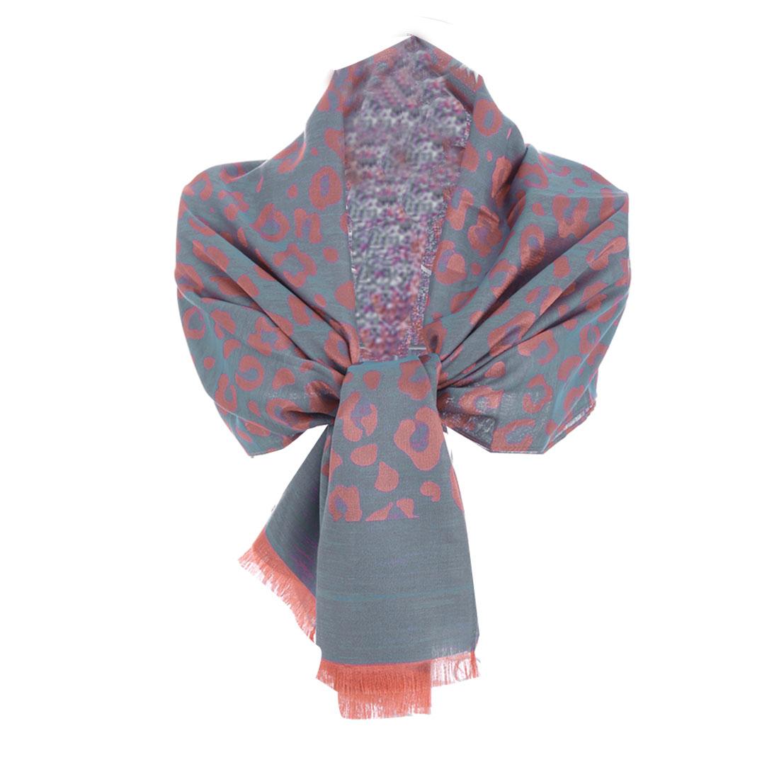 Ladies' Stylish Easy-matching Leopard Prints Light Blue Scarf