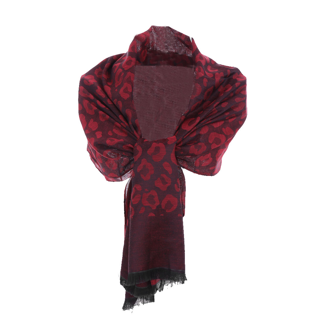 Fashionable Easy-matching Warm Red Leopard Printing Soft Shawl For Lady