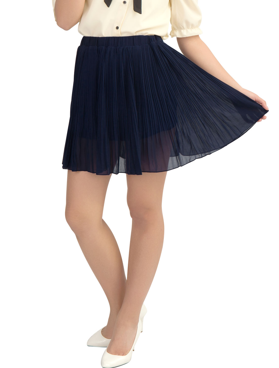 Solid Navy Blue Elastic Waist Pleated Mini Skirt M for Lady