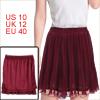 Ladies Fashional Burgundy Color Pleated Chiffon Mini Skirt M
