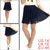 Stretchy Waist Navy Blue Semi-Sheer Chiffon Mini Skirt L for Woman