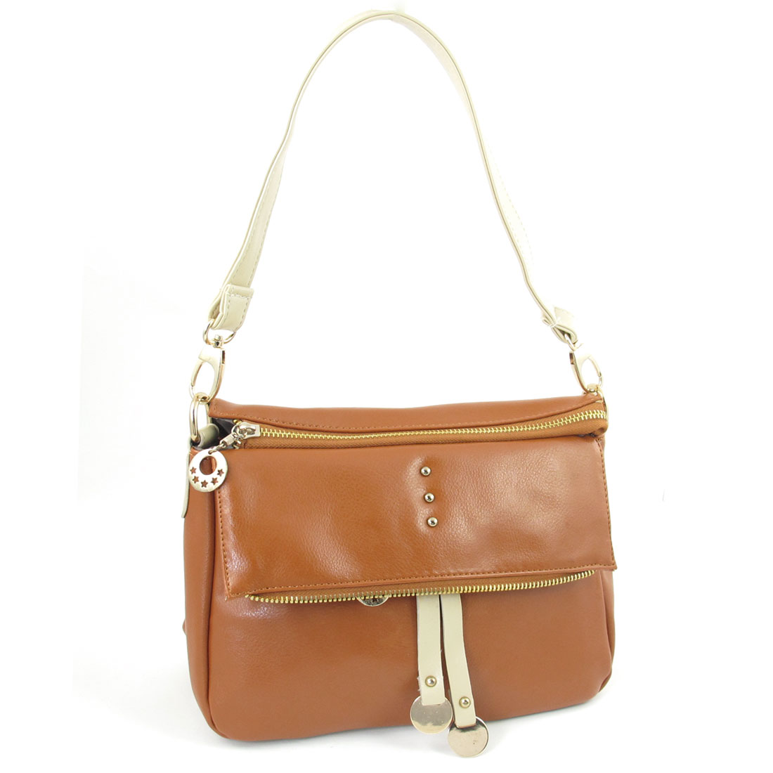 Lady Zip Up 6 Compartments Faux Leather Hangbag Shoulder Bag Brown