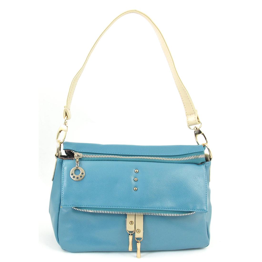 Teal Faux Leather Zipper Closure Handbag Shoulder Bag for Lady