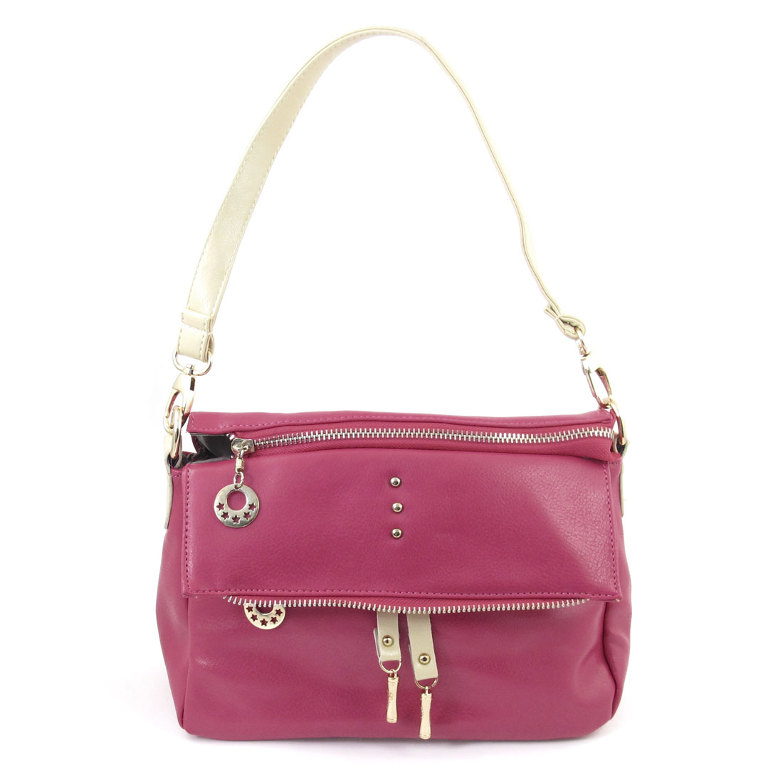 Lady 6 Compartments Zippered Faux Leather Handbag Shoulder Bag Fuchsia
