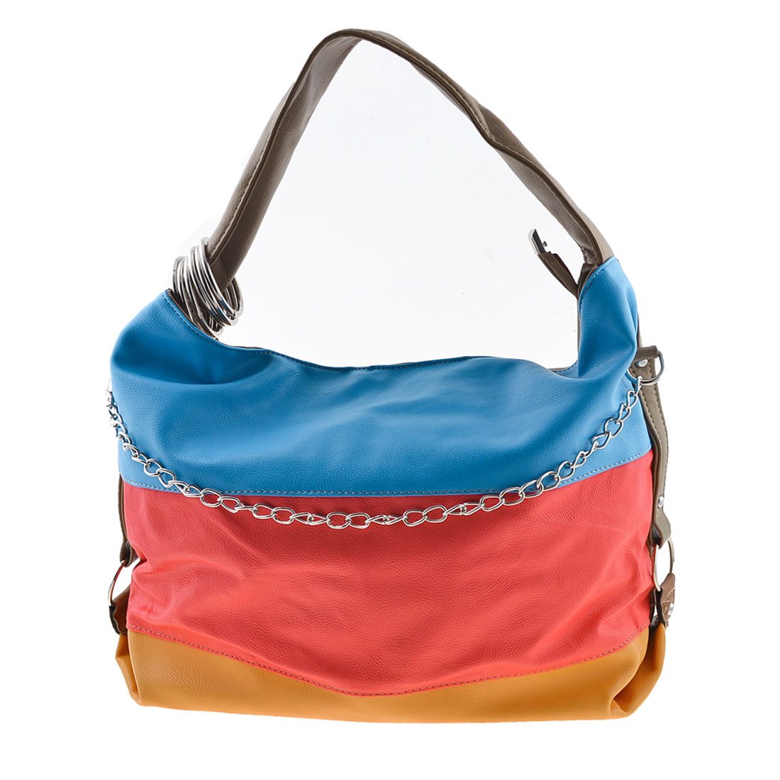 Women Tri Color 1 Compartments Zip Up Rectangle Shoulder Bag Handbag Purse