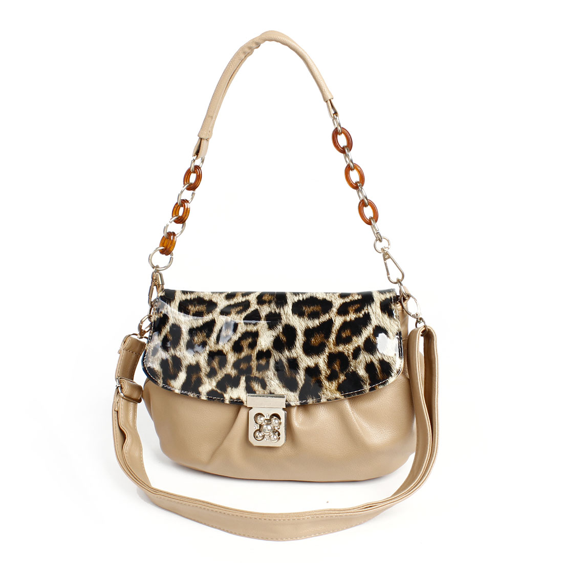 Lady Leopard Print Faux Leather Turn-lock Clasp Shoulder Bag Handbag Brown
