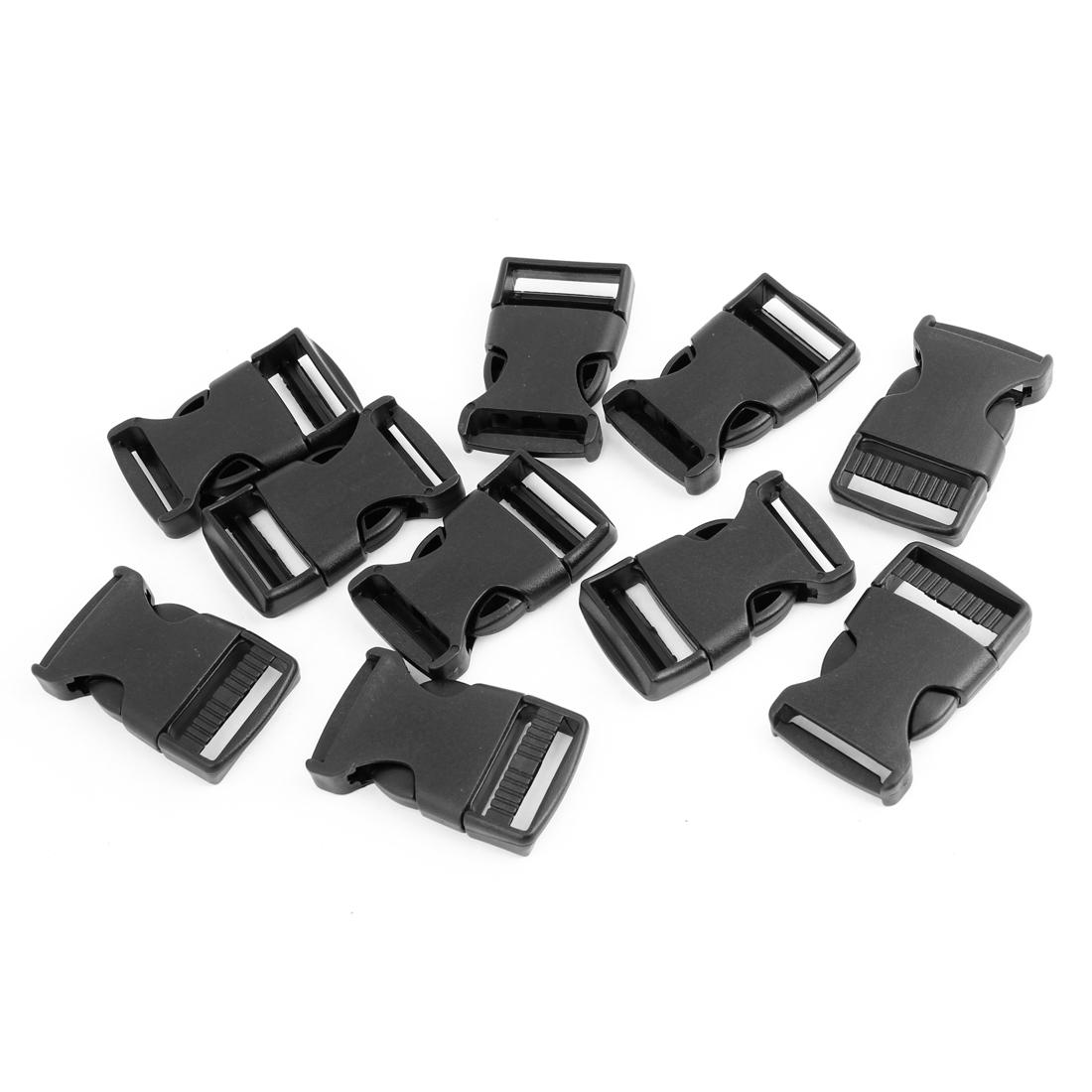 "10 Pcs 1"" 2.5CM Width Plastic Safety Quick Release Buckles Black"