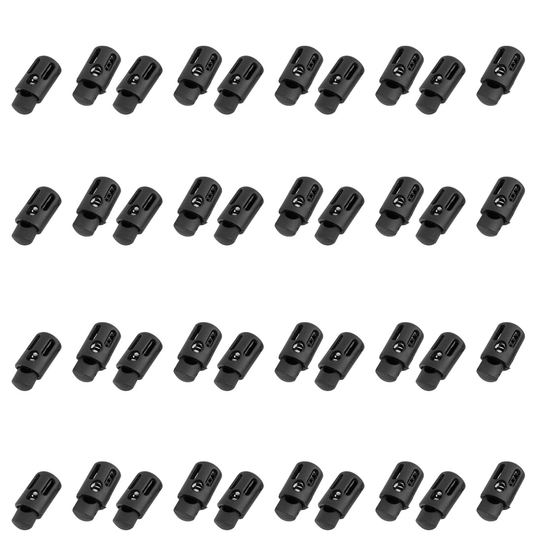 40pcs 4.5mm Diameter Hole Rope Cord Locks Ends Spring Stop Toggles Black