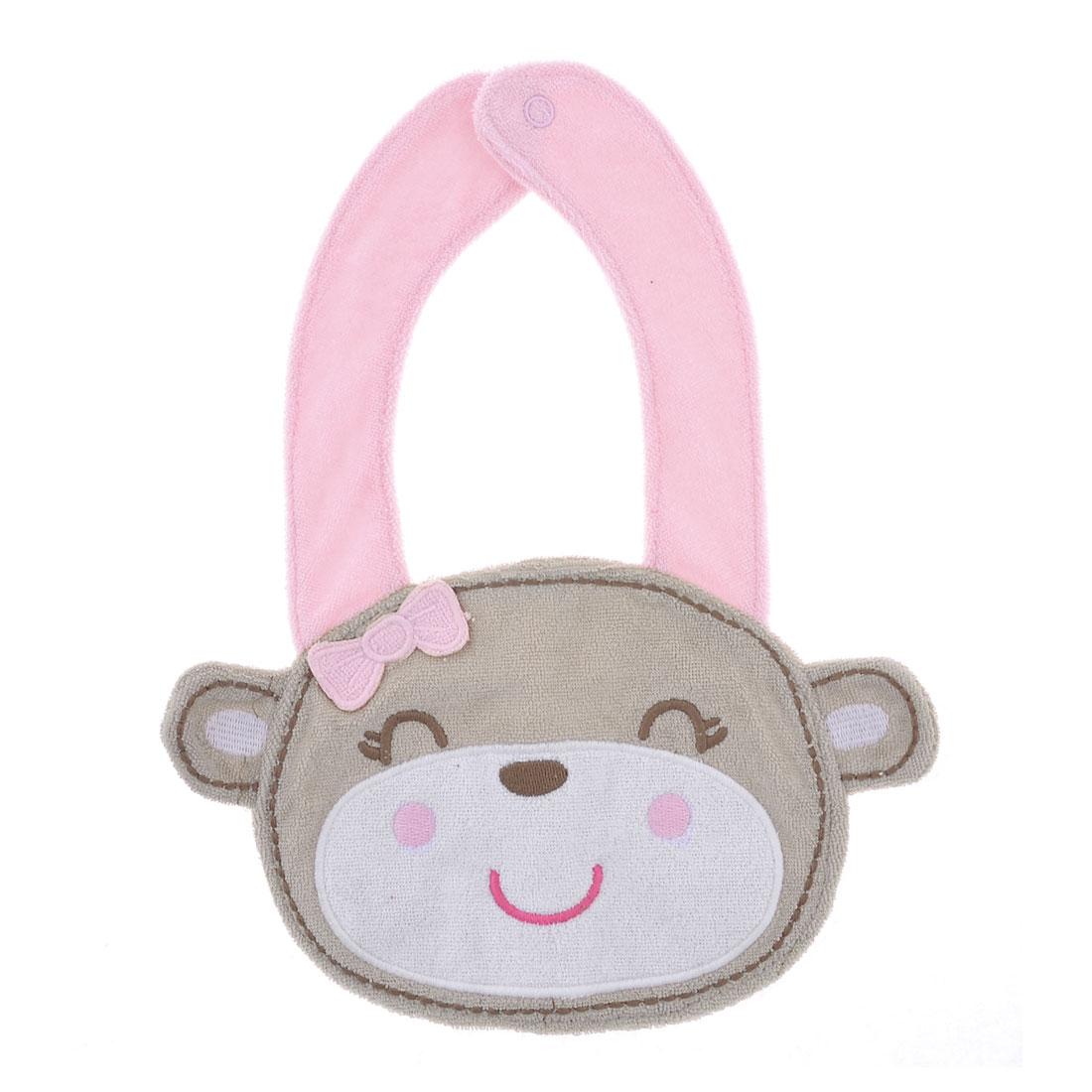 Monkey Design Baby Kids Infant Lunch Bib Saliva Towel Pink Khaki