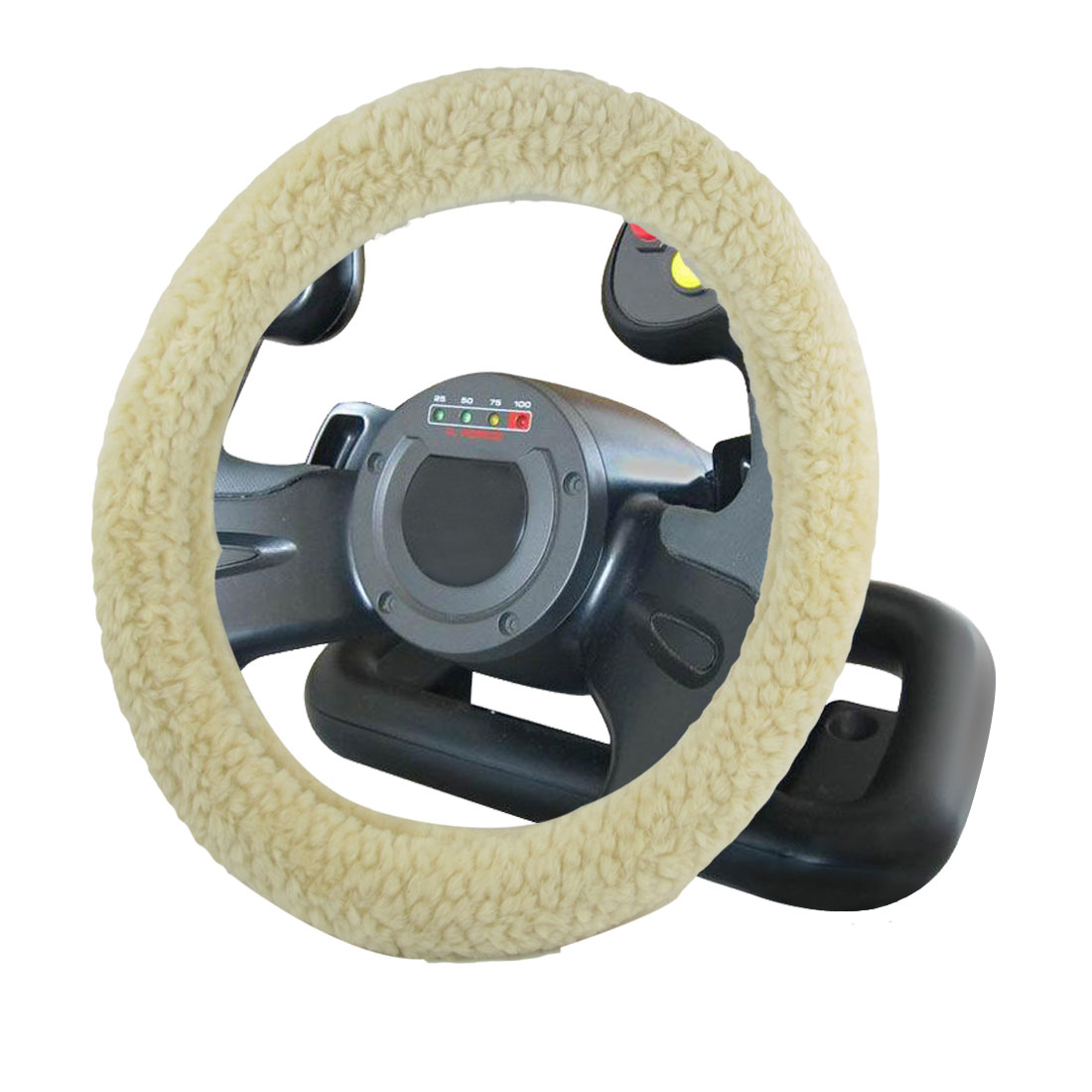 "Universal Truck Beige Winter Warm Wool Steering Wheel Cover Guard 15.4"" Dia"