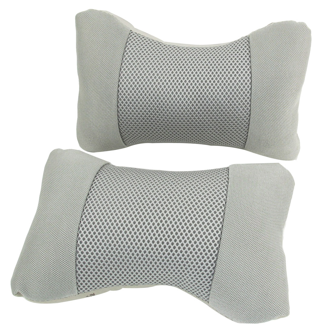 2 Pcs Car Breathable Mesh Design Stretchy Band Head Neck Rest Pilows Ash Gray