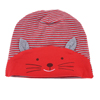 Baby Infant Cat Design Red Gray Stripe Pattern Cotton Hat Cap